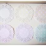 6 Parisian Lace Doily Pastel colors..