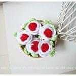 2 Flower crochet applique with leav..