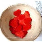 Red Heart shape velvet felt / pack
