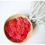 10 Red Flower shape velvet felt / p..