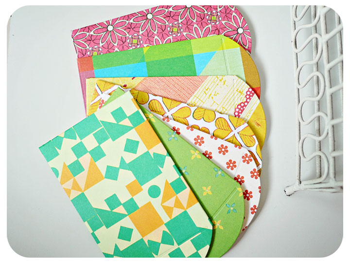 6 mini pattern paper envelope / pack
