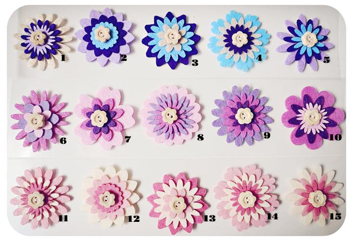 1 piece Flower felt embellishment (mix and Match)