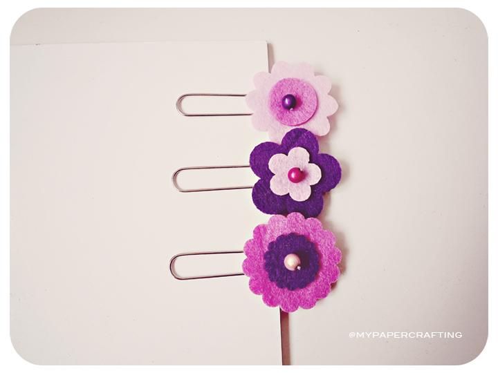 Felt Flower paper clips