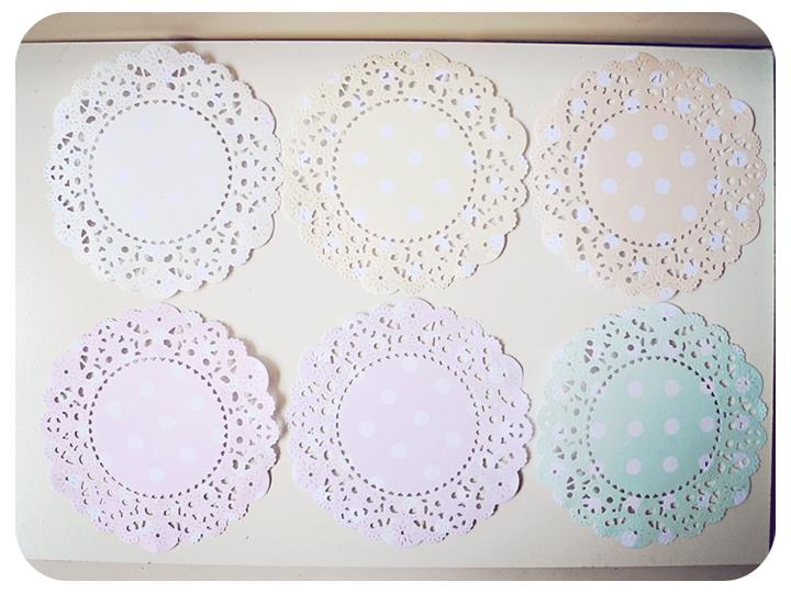 6 Parisian Lace Doily Pastel colors polka dot / pack