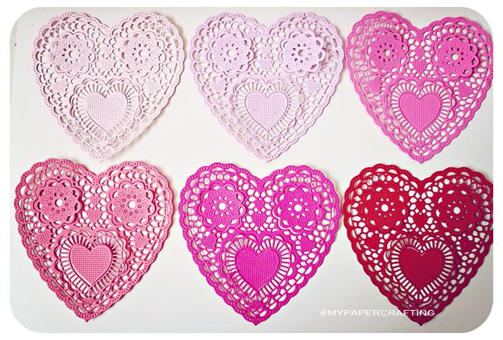 """Heartshape Lace colored doilies 4"""""""
