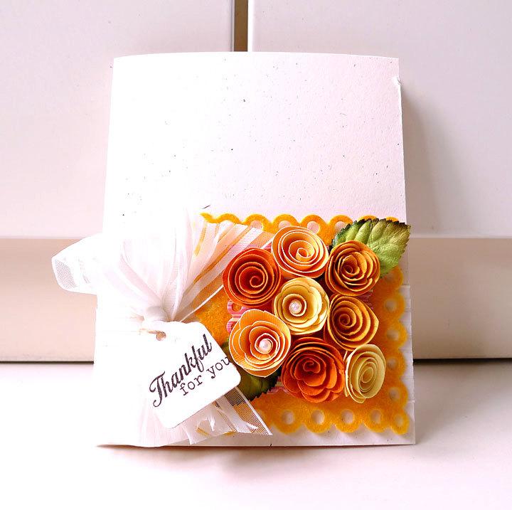 Thankful for you orange, yellow, autumn handmade card