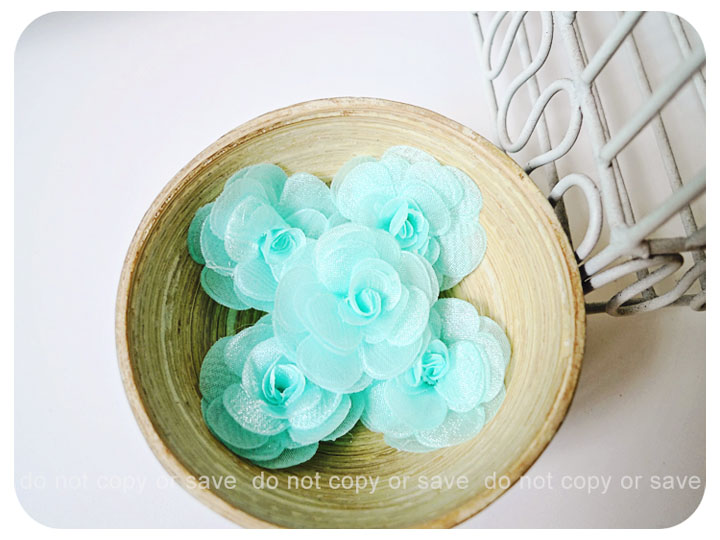 6 Aqua Mist Satin Organza flowers