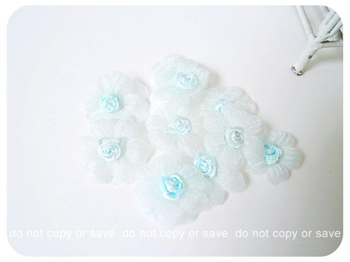 10 Light blue Satin organza flower / pack