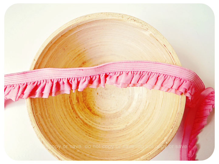 Elastic double layer pink ruffles ribbon