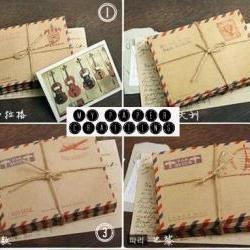 10 mini mail brown air mail envelopes