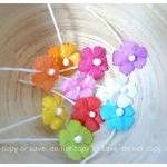 Flat mini mulberry paper flowers co..